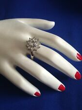 VINTAGE RING - IN CLUSTER CLEAR DIAMANTES - SIZE M 1/2 (6.5) - DOUBLE BANDED