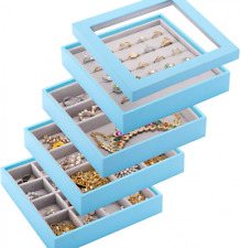 Mebbay Stackable Jewelry Trays Organizer With Lid Storage Blue