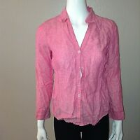 Brooks Brothers Linen Shirt Size 8P Petite Womens Pink Button Down Blouse Top