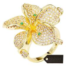 Women's Gold-Plated Flower Trendy Fashion Ring Cubic Zirconium by Matashi Size 5