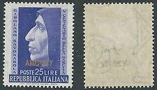 1952 TRIESTE A SAVONAROLA FILIGRANA LETTERA MH * - P25-3