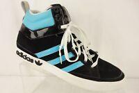 ADIDAS Black Nubuck Blue Leather White Lace Up Ankle Sneaker Shoe Men's Size 13M