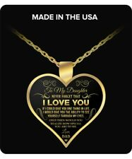 Daughter Through Eyes of Father - Gold Plated Necklace Love Charm Pendants