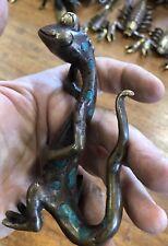 Garden Gecko Statue Desk Novelty 100% Grade A Bronze
