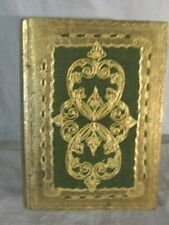 Unbranded Wooden Gilded Book Box Green and Gold  10 X  7.5 X 2.5