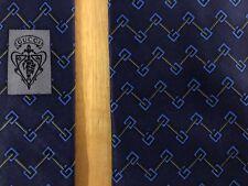 "GUCCI Italy 100% Silk Satin Tie Navy & Blue ""GG"" Link Print Handmade, Genuine"