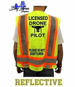 DRONE PILOT LICENSED HIGH VISIBILITY SAFETY GREEN VEST +*DO NOT DISTURB*BACK