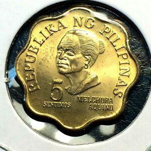 1975 🔥 PHILIPPINES 5 Sentimos Brass Coin UNC 🌞 KM 206
