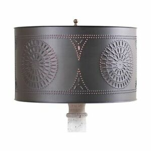 Floor Lamp Drum Shade with Chisel in Kettle Black Tin