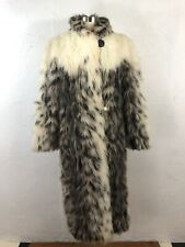 Avec Tu Luxury Faux Fur Long Coat Gray White USA Satin Lined Sz 10 Burning Man