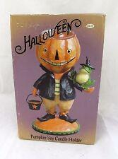 Halloween Decor Pumpkin Boy Candle Holder Country Primitive Vtg Witch Hat Frog