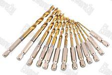 "13Pcs 1/4"" Hex Shank Titanium Coated Metal Drill Bit Set 1.5-6.5mm (50RD913H)"