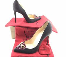 Christian Louboutin Coralta Mia Glitter Black/Velour Jeweled Heart 100Black 39