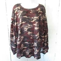 New Umgee Top 1X Camouflage Camo Waffle Knit Gray Puff Sleeve Plus Size