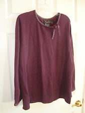 Terry Lewis Classic Luxuries Wine Ramie/Cotton w/Leather Trim Sweater 1X EUC