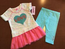 NWT FLAPDOODLES GIRLS SIZE 2T ~ TWO PIECE SPACE DYE LOVE SEQUIN DRESS SET