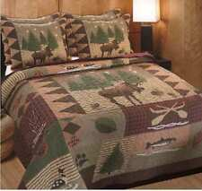 Moose Lodge Quilt Set King Country Cabin Rustic Western Animal Print Patchwork
