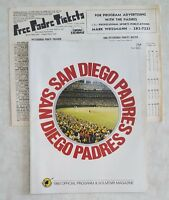 1980 SAN DIEGO PADRES SCOREBOOK PROGRAM w PIRATES INSERT UNSCORED