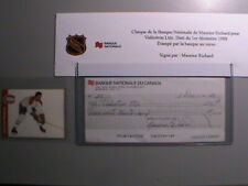 VERY RARE ! 1988 BANQUE NATIONALE DU CANADA CHECK SIGNED LOT MAURICE RICHARD !!