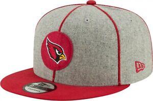 Arizona Cardinals Hat New Era 9Fifty 950 Snapback Wool NFL Football Cap Gray Red