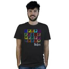 T-Shirt Beatles Pop Art, maglietta nera con logo musica in stile Andy Warhol