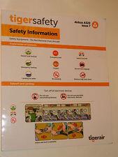 Safety card CONSIGNE de SECURITE airbus A320 TIGER AIR tigerair SINGAPORE