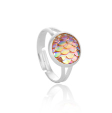 Fashionable 5color mermaid scales adjustable ring 1pcs