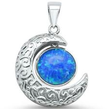 Sterling Silver Charm Pendant Blue Opal Crescent Moon .925
