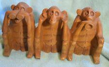 Tp-010 Three Unwise Monkeys Wood Carving Vintage See , Speak and Hear Evil