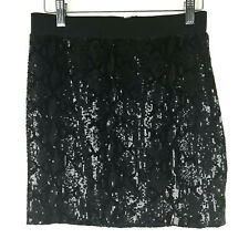 Guess Mini Skirt Medium Women Sequin Straight Black Snake Elastic Waistband