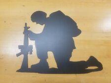 Solider Kneeling Metal Wall Art Plasma Cut Home Decor Gift Idea Usa Army Navy.