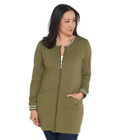 Denim & Co. Active Regular Tunic Jacket with Striped Rib Trim - Deep Olive - 1X