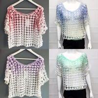New Women Ladies Summer Daisy Floral Fish Net Mesh Short Sleeve Top Shirt