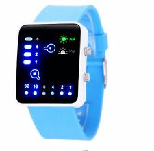 Led Binary Digital Watch Mens Fashion Casual Sport Wrist Watches Sky Blue