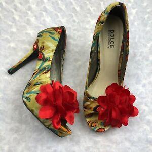 DOLCE by MOJO MOXY Women's Red Peacock Open Toe Heels Shoes Size 9M