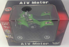 ATV Motor Quad Bike Toy Green Black Aneka Scale 1:24 Ages 3+ Pull Back Action