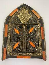 Handmade Moroccan Wall Mirror W/Doors Camel Bone Natural Mediterranean Decor