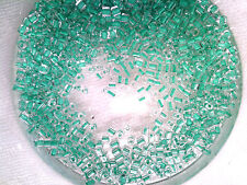 Vtg 200 grams BRIGHT GREEN LINED CRYSTAL SQUARE BEADS end of stock #012711v