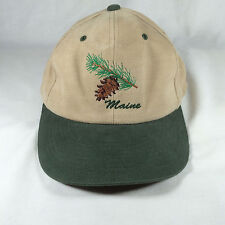Maine Snapback Ball Cap Hat Promotional Advertising Sign Tan Green Pinecone