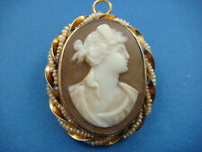 ANTIQUE CAMEO BROOCH-PENDANT WITH SEED PEARLS 10K GOLD 4.9 GRAMS 30X26 MM