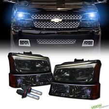 10K Hid Xenon Smoke Headlights+Corner Bumper Parking Amber 03-06 Chevy Silverado