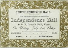1859 Miller's Band Independence Ball S. B. Green's Hall Elma Victorian Card P114