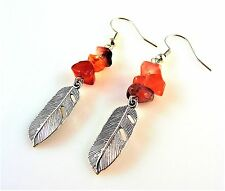 1 Pair Red Agate Gemstone Chips Dangle Earrings with Metal Feather - # 2631