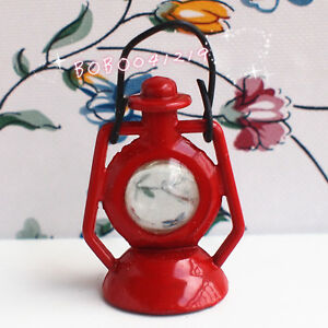 Dollhouse Miniature 1:12 Toy A Vintage Metal Red Lantern Height 5cm F19