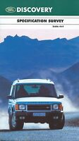 Land Rover Discovery UK Market Specification Brochure 2000 includes E S GS XS ES