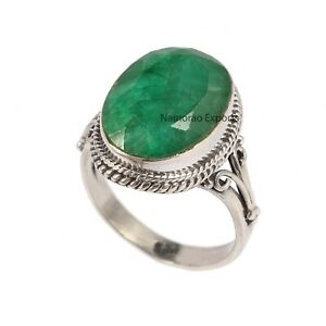 925 Sterling Silver Natural Emerald Gemstone All US Size Handmade Ring R6