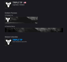 Destiny 2 TRIPLE TIP EMBLEM CODE AVAILABLE NOW!!!!!! INSTANT DELIVERY!!!!!!!!!!!