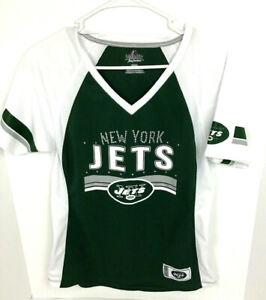 Women's Majestic V Neck Size M Bling New York Jets Short Sleeves Top Blouse
