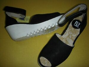 Fly London Yake Perforated Leather Adj Ankle Strap Sandals 38 Black/White 7-7.5~