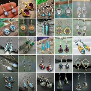 925 Silver Turquoise Retro Drop Hook Earrings For Women Dangle Jewelry Fashion